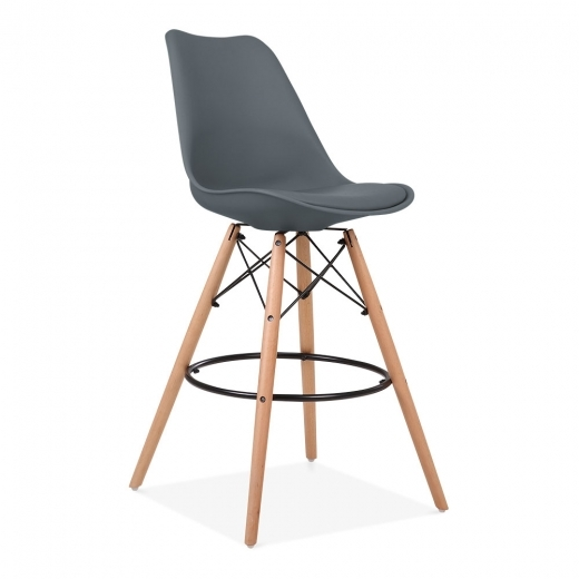 Eames Inspired Soft Pad Bar Stool with Backrest, DSW Style Natural Wood Leg, Grey 65cm