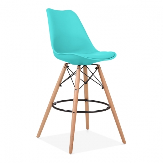 Eames Inspired Soft Pad Bar Stool with Backrest, DSW Style Natural Wood Leg, Turquoise 65cm