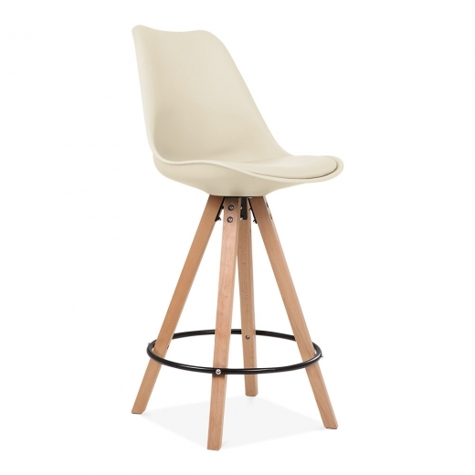 Eames Inspired Soft Pad Bar Stool with Backrest, Pyramid Natural Wood Leg, Cream 65cm