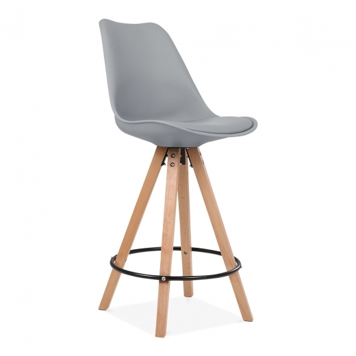 Eames Inspired Soft Pad Bar Stool with Backrest, Pyramid Natural Wood Leg, Cool Grey 65cm