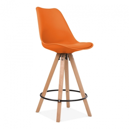 Eames Inspired Soft Pad Bar Stool with Backrest, Pyramid Natural Wood Leg, Orange 65cm