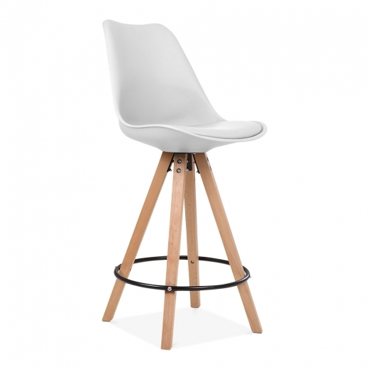 Eames Inspired Soft Pad Bar Stool with Backrest, Pyramid Natural Wood Leg, White 65cm