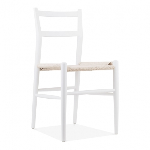 Danish Designs Leon Beech Wood Dining Chair with Woven Seat, White
