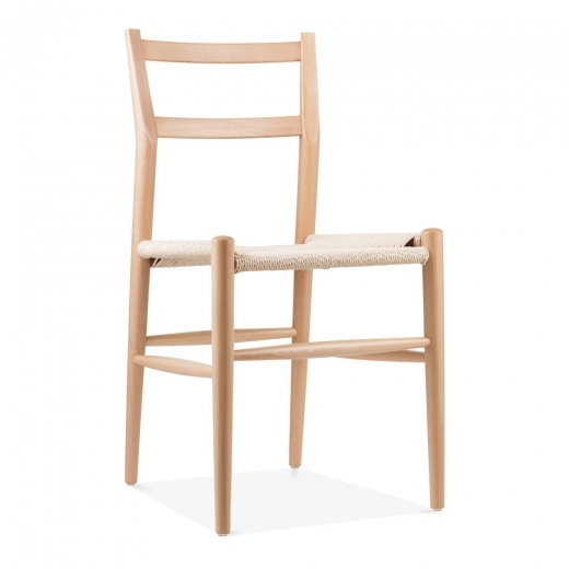 Danish Designs Leon Beech Wood Dining Chair with Woven Seat, Natural