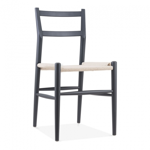 Danish Designs Leon Beech Wood Dining Chair with Woven Seat, Dark Grey & Natural