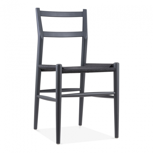 Danish Designs Leon Beech Wood Dining Chair with Woven Seat, Dark Grey - Clearance Sale