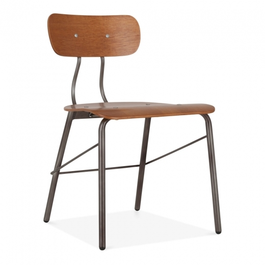 Cult Living Toledo Chair with Walnut Plywood Seat - Gunmetal