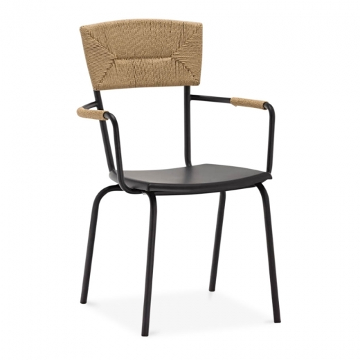 Cult Living Herring Metal Dining Armchair, Woven Backrest, Black
