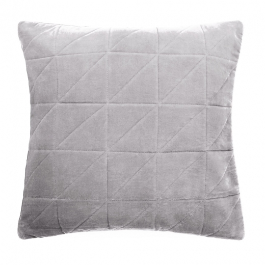 Cult Living Geometric Quilted Velvet Cushion, Grey