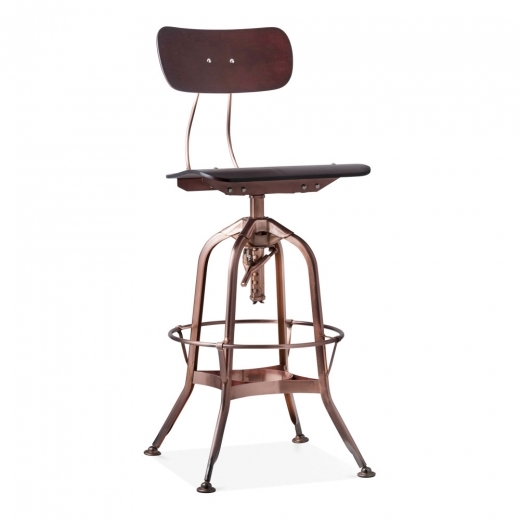 Toledo Style Pump Action Bar Stool with Backrest, Copper 64-74cm