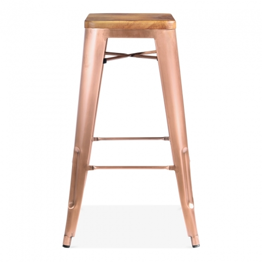 Xavier Pauchard Tolix Style Bar Stool with Natural Wood Seat - Light Copper 75cm