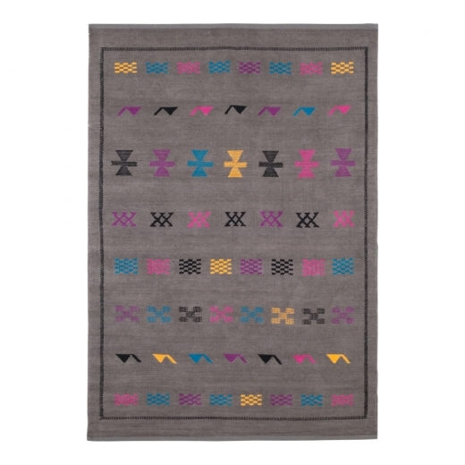 Cult Living Moroccan Style Chenille Kilim Rug, 100% Cotton, Grey