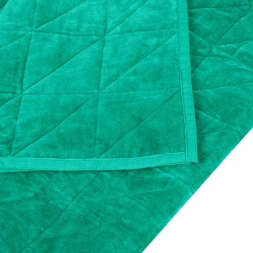 Cult Living Geometric Quilted Velvet Throw, Green