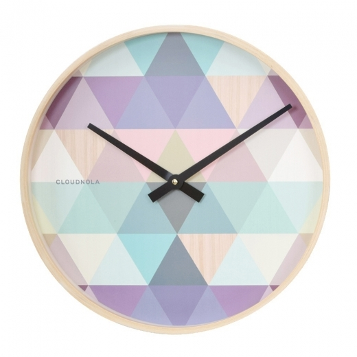 Cloudnola Tonic Wooden Geometric Wall Clock, Blue