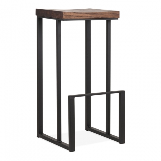Cult Living Sling Square Metal Bar Stool, Solid Elm Wood, Matte Black 76cm