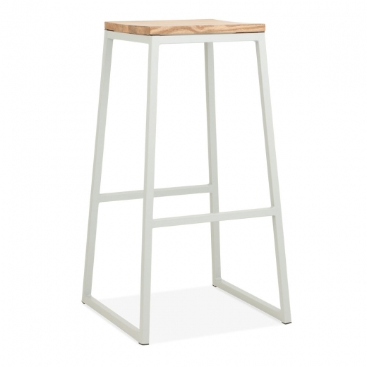 Cult Living Consec Metal Bar Stool, Solid Elm Wood, Matte Grey 75cm