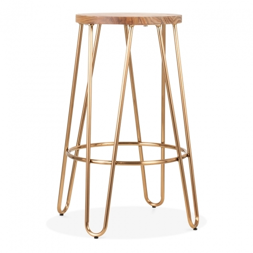 Cult Living Hairpin Metal Bar Stool, Solid Elm Wood, Brass 66cm