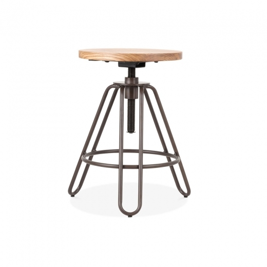 Cult Living Hairpin Talbot Swivel Stool, Solid Elm Wood, Rustic 49-61cm