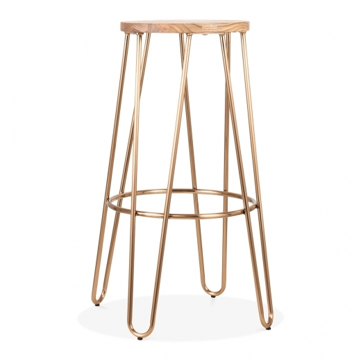 Cult Living Hairpin Metal Bar Stool, Solid Elm Wood, Brass 76cm