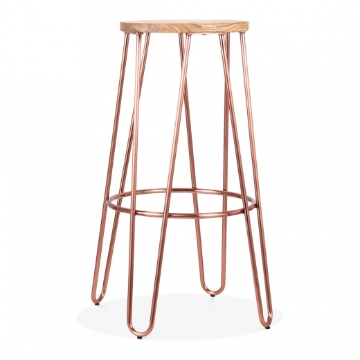 Cult Living Hairpin Metal Bar Stool with Natural Wood Seat, Copper 76cm
