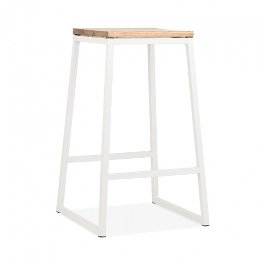 Cult Living Consec Metal Bar Stool, Solid Elm Wood, White 65cm