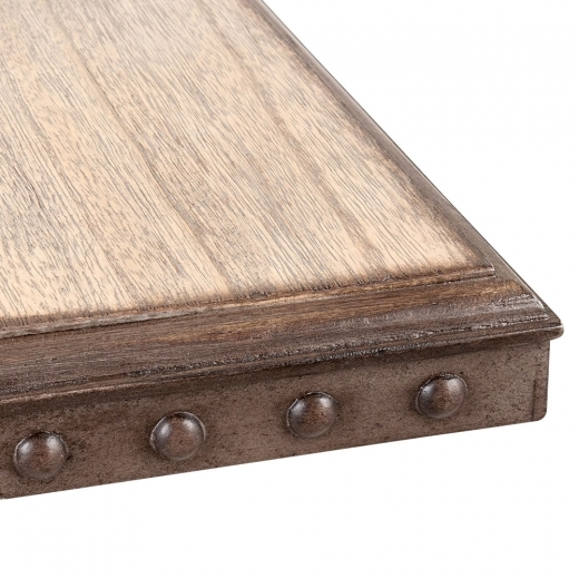 Cult Living Square Café Table Top, Rustic Wood Effect