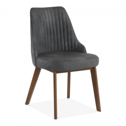 Cult Living Albert Scoop Back Dining Chair, Faux Suede Upholstered, Black