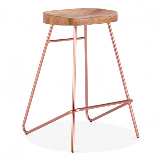 Cult Living Norse Metal Bar Stool, Solid Elm Wood, Copper 65cm