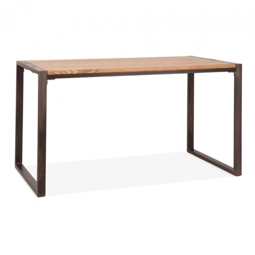 Cult Living Gastro Metal Dining Table, Solid Elm Wood, Rustic 140cm