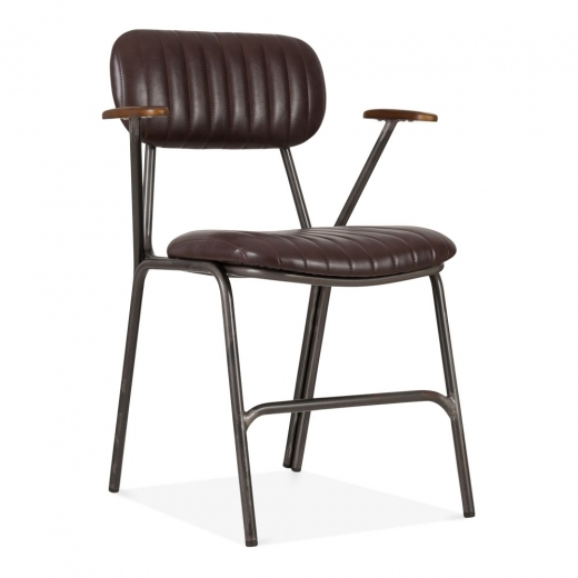 Cult Living Boston Metal Dining Armchair, Faux Leather Upholstered, Brown