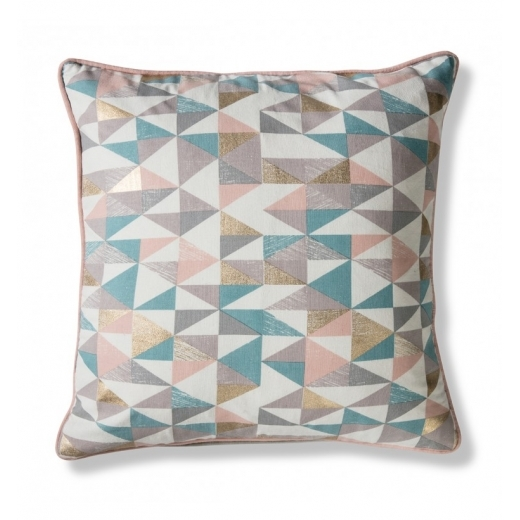 Geometric Triangle Cushion, Pastel and Gold