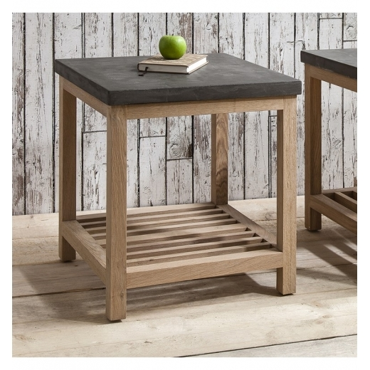 Cult Living Arden Square Side Table, Oak and Concrete Effect