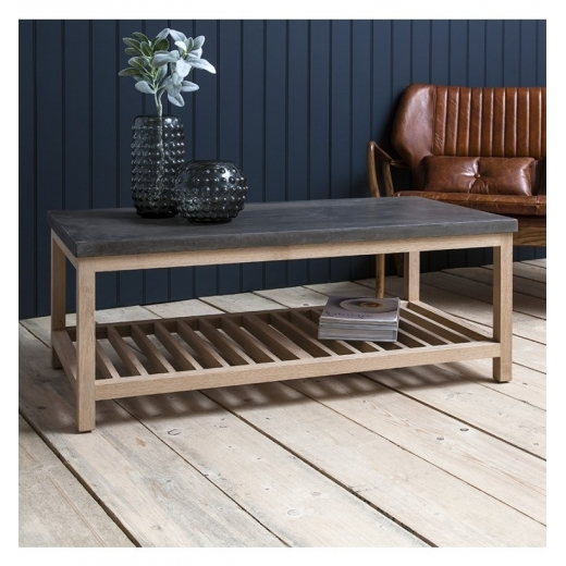 Cult Living Arden Rectangular Coffee Table, Oak and Concrete Effect