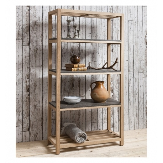 Cult Living Arden Open Shelving Unit, Oak and Concrete Effect
