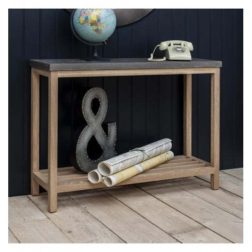 Cult Living Arden Console Table, Oak and Concrete Effect