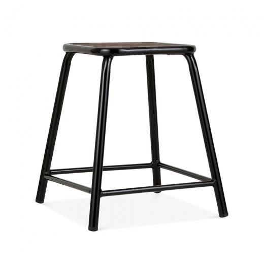 Cult Living Brooklyn Stool with Wood Seat - Black 45cm