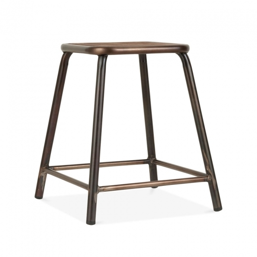 Cult Living Brooklyn Stool with Wood Seat - Rustic 45cm