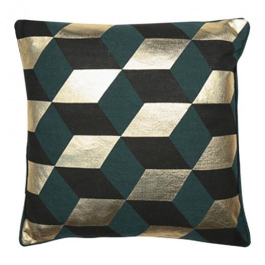 Cult Living Zante Geometric Diamond Cushion, Green and Gold