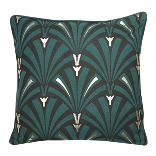 Cult Living Art Deco Flapper Cushion, Green and Gold