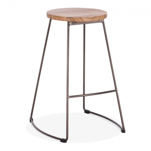 Cult Living Jonas Metal Bar Stool, Round Elm Wood Seat, Rustic 65cm