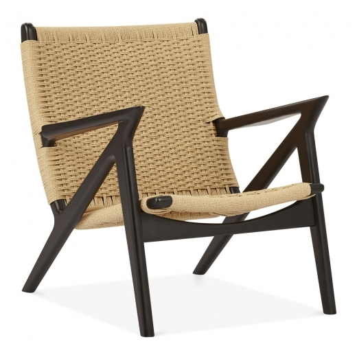 Cult Design Z Style Dane Wooden Lounge Chair, Natural Woven Seat, Black