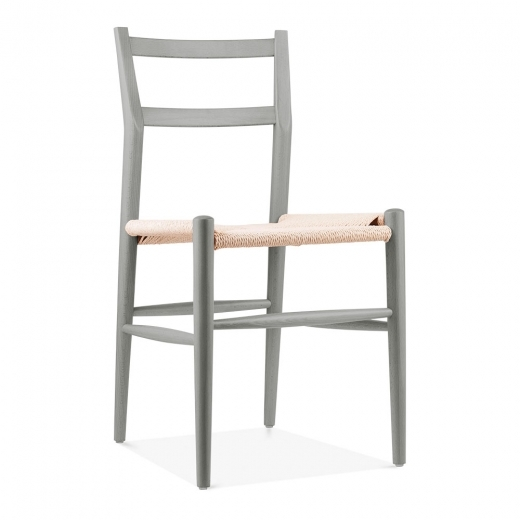Danish Designs Leon Beech Wood Dining Chair and Woven Seat, Light Grey