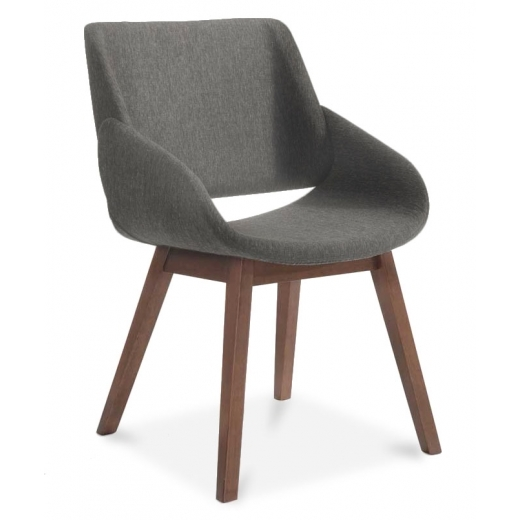 Cult Living Amos Wooden Dining Armchair, Fabric Upholstered, Grey