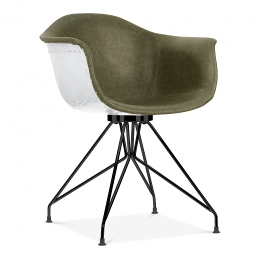 Cult Design Moda Aviator Armchair CD1, Vintage Green Faux Leather