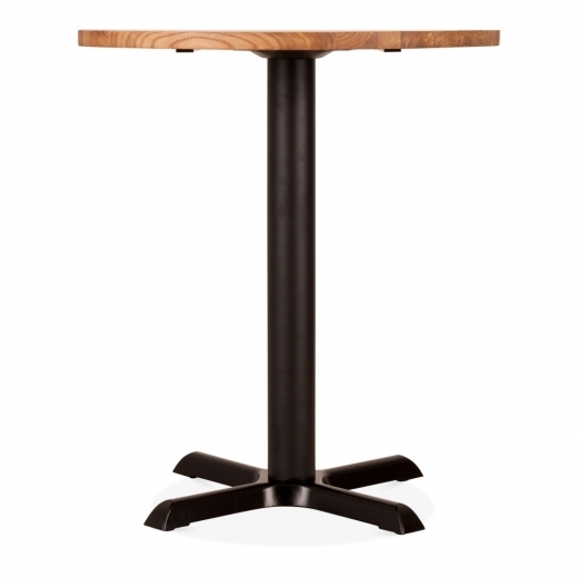 Cult Living Galant Round Cafe Table, Elm Wood Top, Natural & Black 70cm