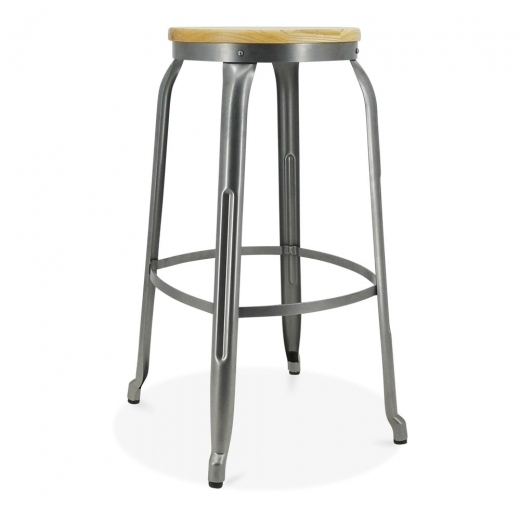 Cult Living Morgan Metal Bar Stool, Ash Wood Seat, Gunmetal 75cm