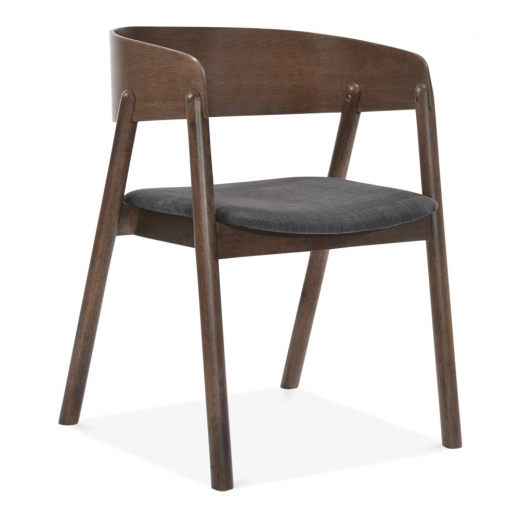 Cult Living Tilda Wooden Dining Chair, Dark Grey Fabric Upholstered, Walnut