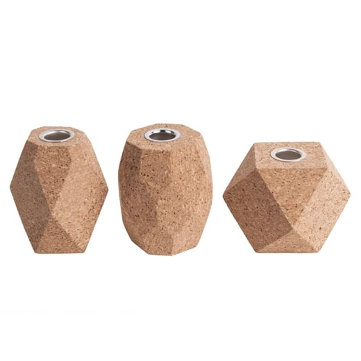 Present Time Hexagon Cork Candle Holder, Set of 3