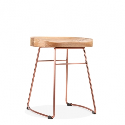 Cult Living Victoria Metal Low Stool with Natural Wood Seat, Copper 45cm