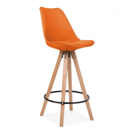 Eames Inspired Soft Pad Bar Stool with Backrest, Pyramid Natural Wood Leg, Orange 75cm
